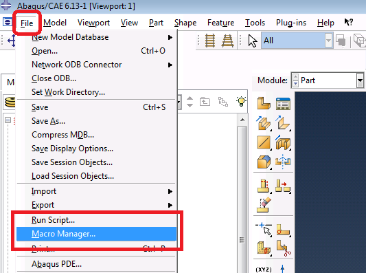 To start Macro Manager in Abaqus
