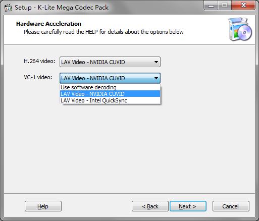 K-Lite Mega Codec Pack 硬件加速设置
