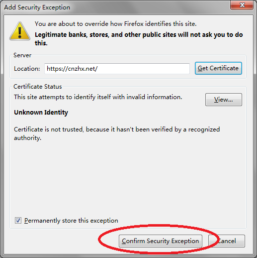 Firefox 添加例外的安全证书