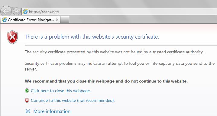 """Internet Explorer 9 - 证书错误:访问过程中断。提示说""""此网站的安全证书有问题""""。此时我们可以点击""""继续浏览此网站(不推荐)""""来继续。"""