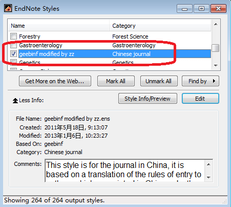 EndNote 样式管理器中勾选 geebinf modified by zz