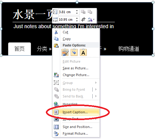 "Word 中为图片右键单击选择""插入题注""(Insert Caption)"