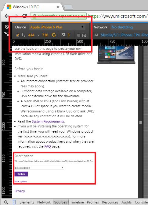 在 Chrome 中模拟手机浏览器直接下载 Windows 10 光盘镜像