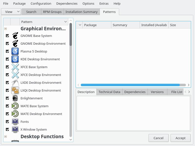 openSUSE Tumbleweed 中提供的各种桌面环境