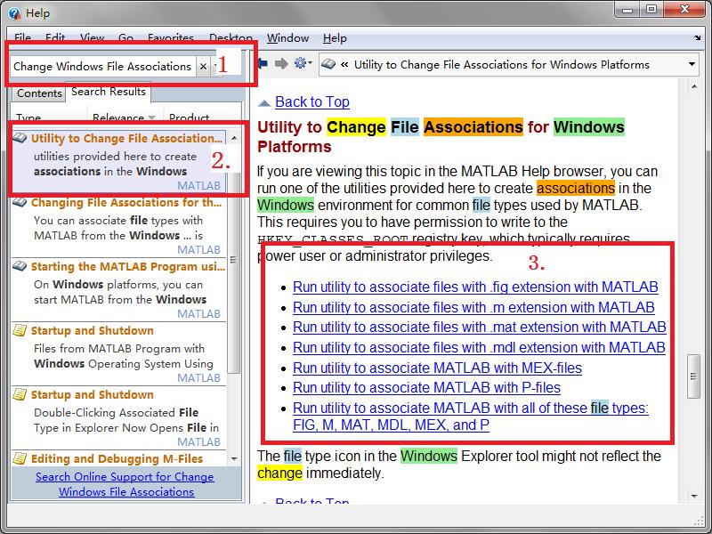 MATLAB 帮助文档中的 Windows 系统文件关联操作指南