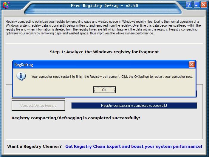 图4 registry defrag 清理完毕提示重起