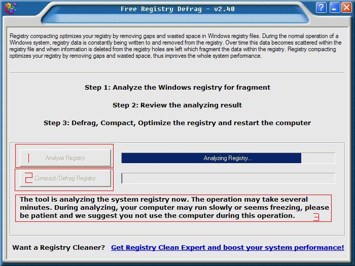 图3 registry defrag v2.40界面
