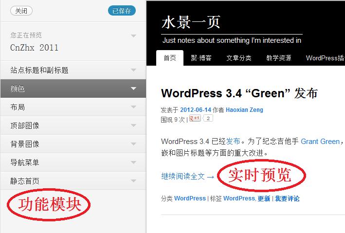 WordPress 3.4 主题定制的功能模块