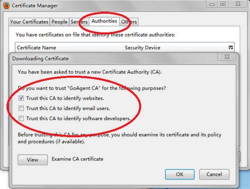 在 Firefox 中将 GoAgent CA 添加到受信任的发布者(发行机构)中