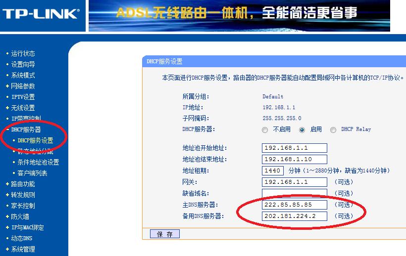 TP-Link TD-W89841N 一体机 DHCP 设置 DNS