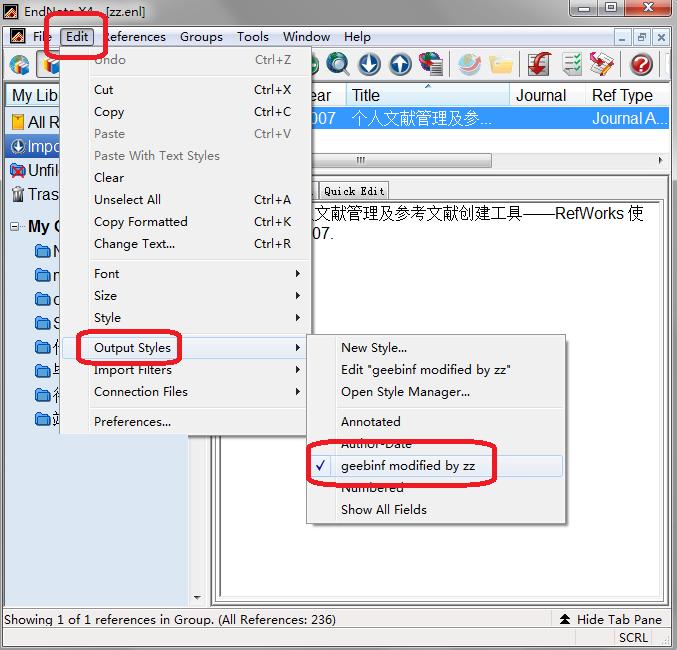 EndNote 选择文献著录导出格式