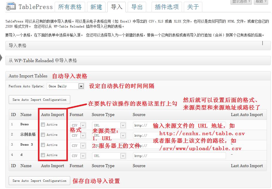 TablePress 扩展:自动导入和更新表格界面截图及汉化和使用说明