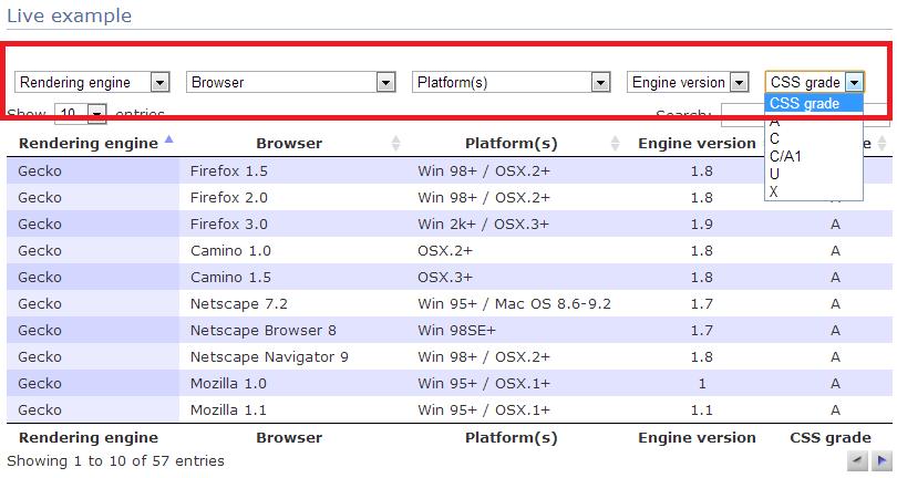 "DataTables JavaScript 库的""表格列过滤""微件"