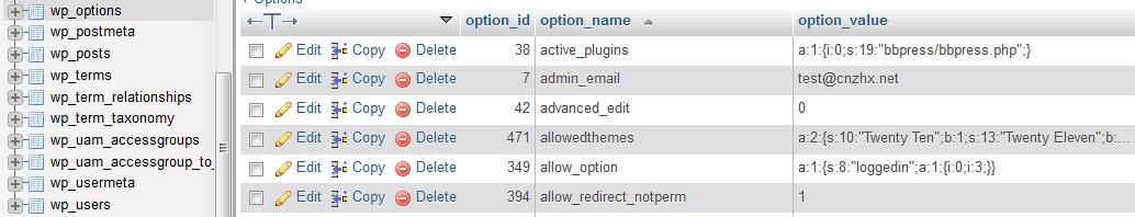 WordPress 所有选项在数据库中的存储表