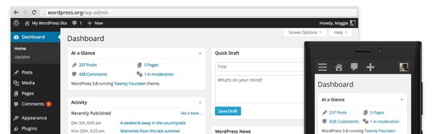 WordPress 3.8 的全新管理后台界面,在大小屏幕中都能很好地显示