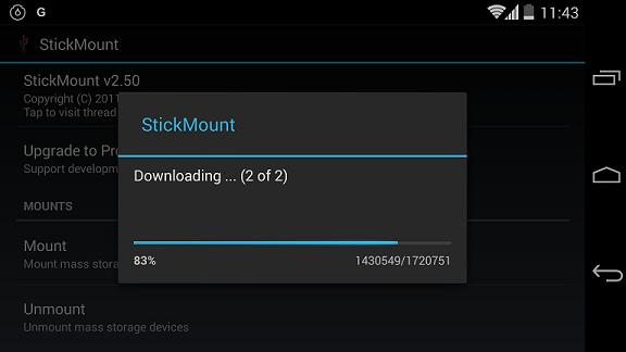 StickMount 首次使用会提示下载安装2个支持文件,后一层图片中能看到 Mount 和 Unmount 操作
