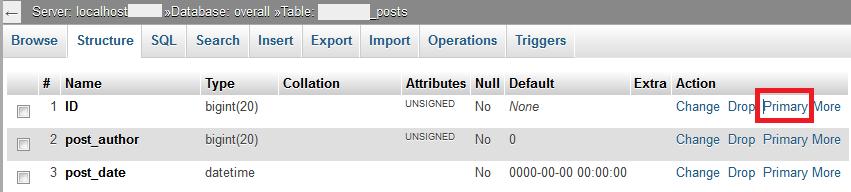 设置数据库某个表的主键