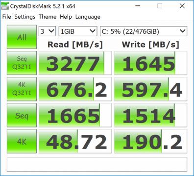CristalDiskMark 测试联想 ThinkPad T470s 更换的 512GB 三星 PM961 NVMe SSD 读写性能